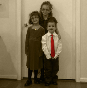 kids black and white red tie2
