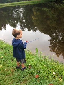 Amanda took Zach fishing so he could use his new rod!