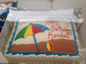 We had a swim team meal on her birthday so we brought the cake!